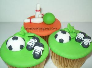 soccer and bowling cupcakes